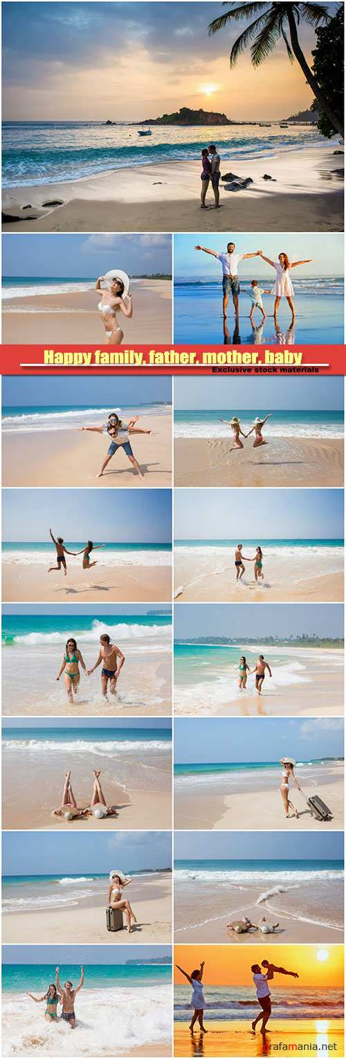 Happy family, father, mother, baby on summer beach vacation