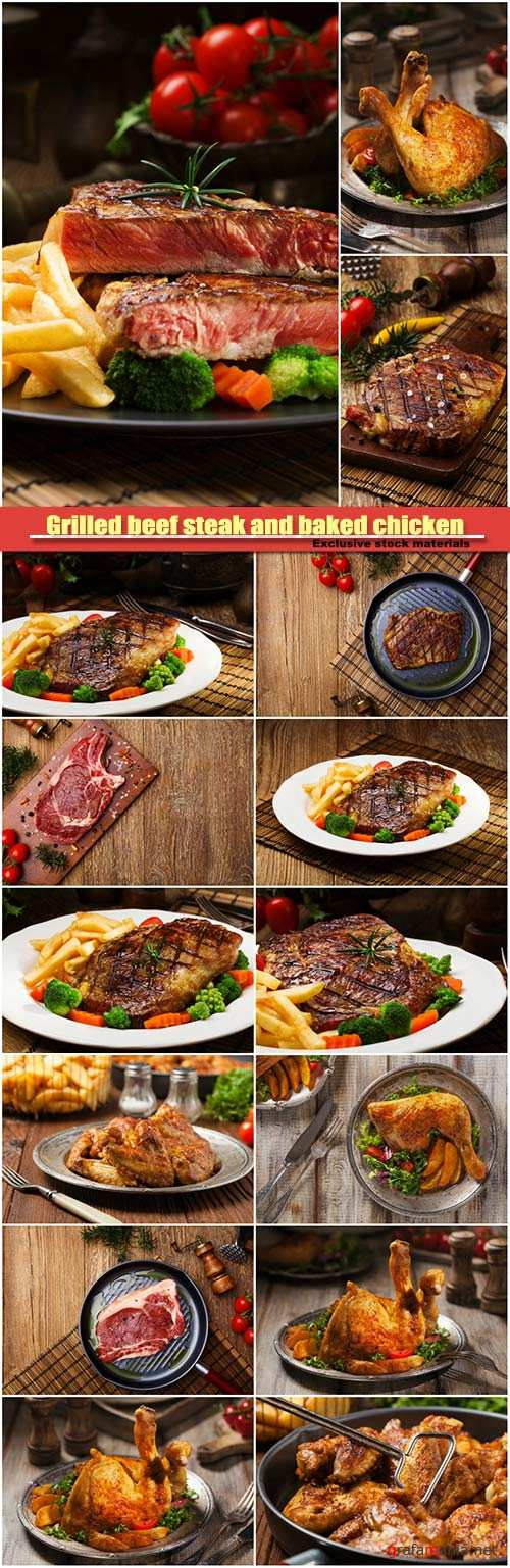 Grilled beef steak and baked chicken legserved with french fries and vegetables