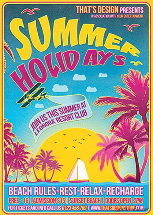 Summer Holidays V32 Flyer Template