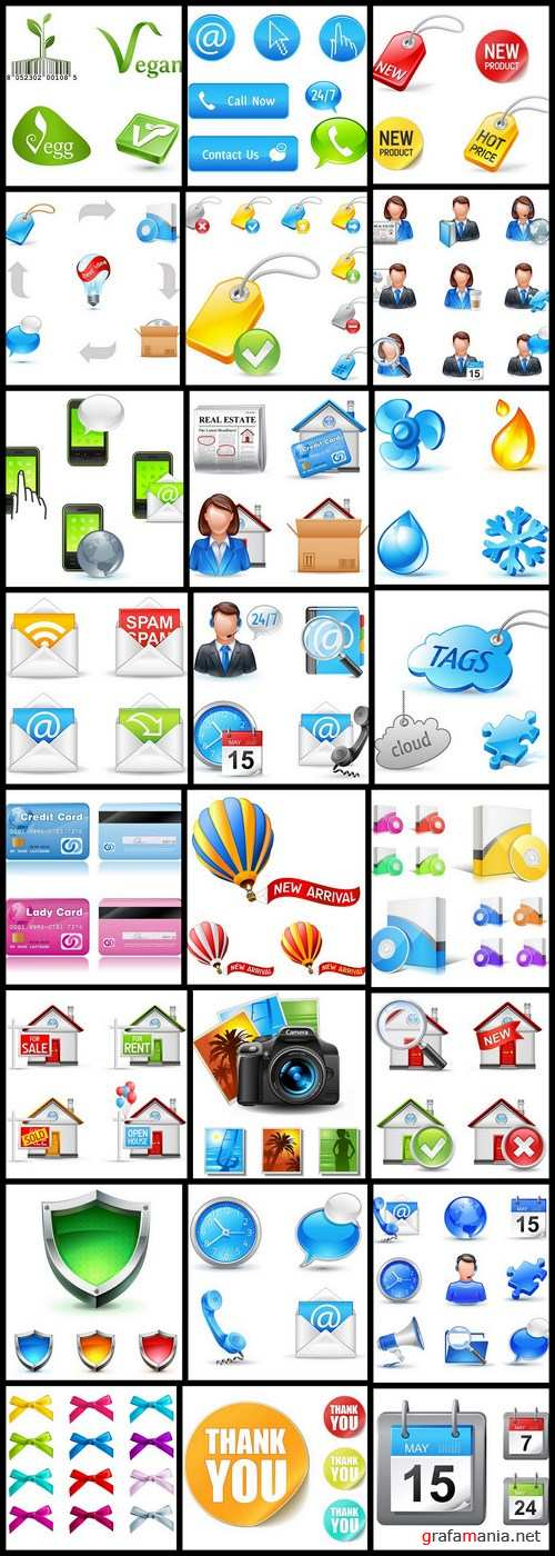 Different Business Pictogram Icons – 25 Vector