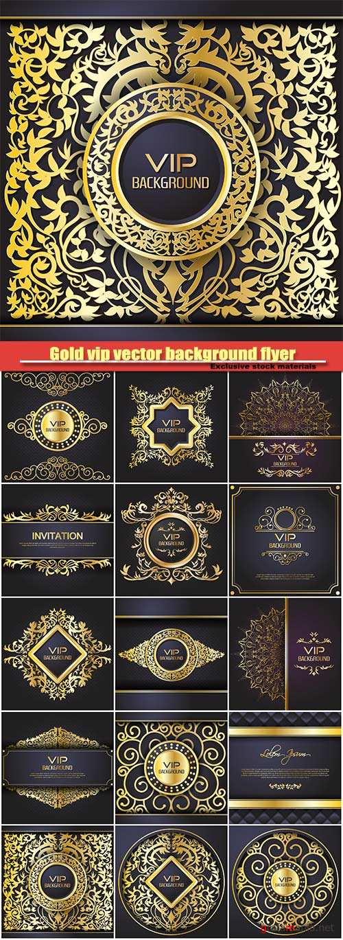 Gold vip vector background flyer, style design template