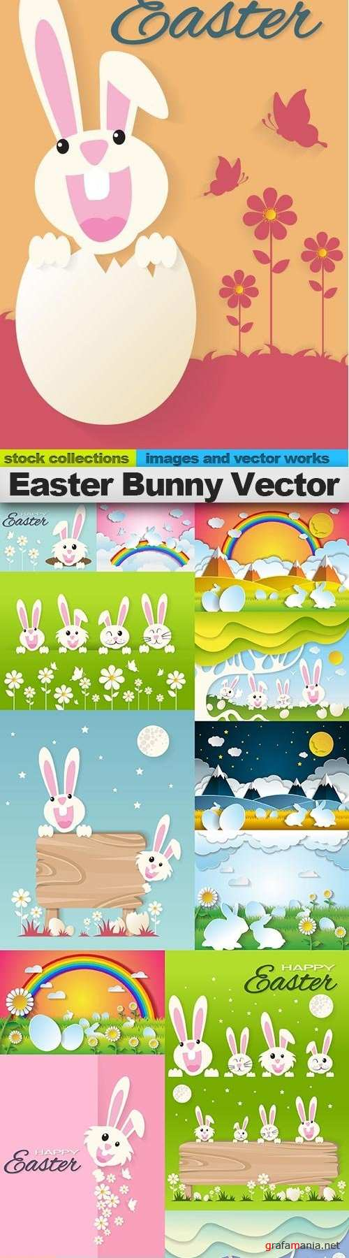 Easter Bunny Vector, 15 x EPS