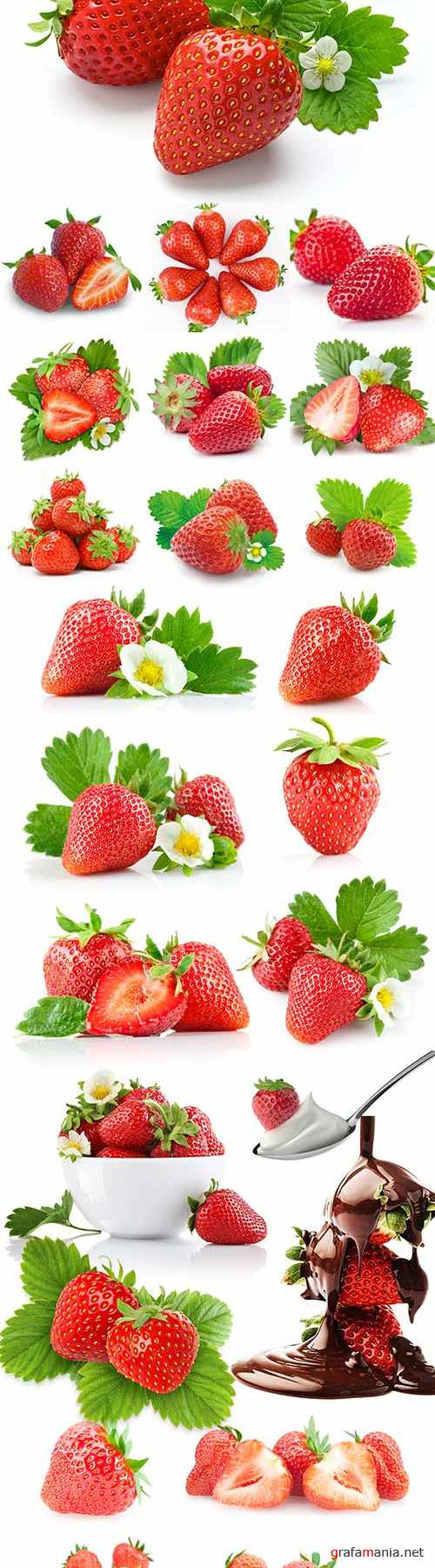 Juicy strawberries on a white background