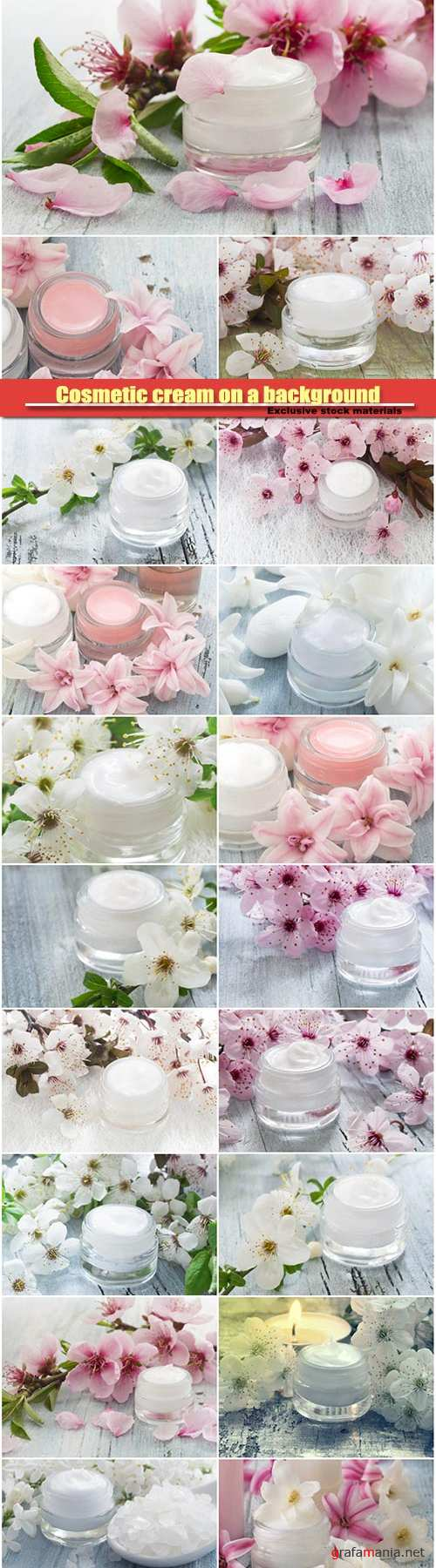 Cosmetic cream on a background of spring flowers