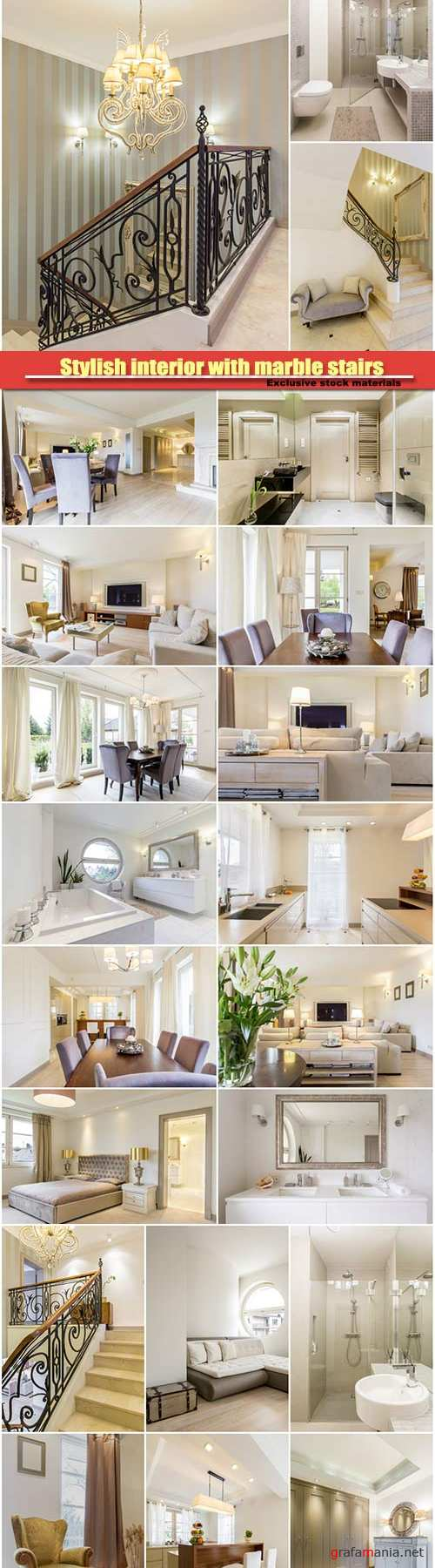 Stylish interior with marble stairs, comfortable living room, bathroom