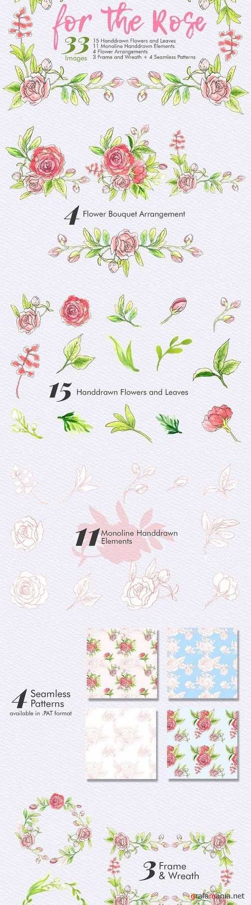 For The Rose - Handdrawn Flowers 1195459