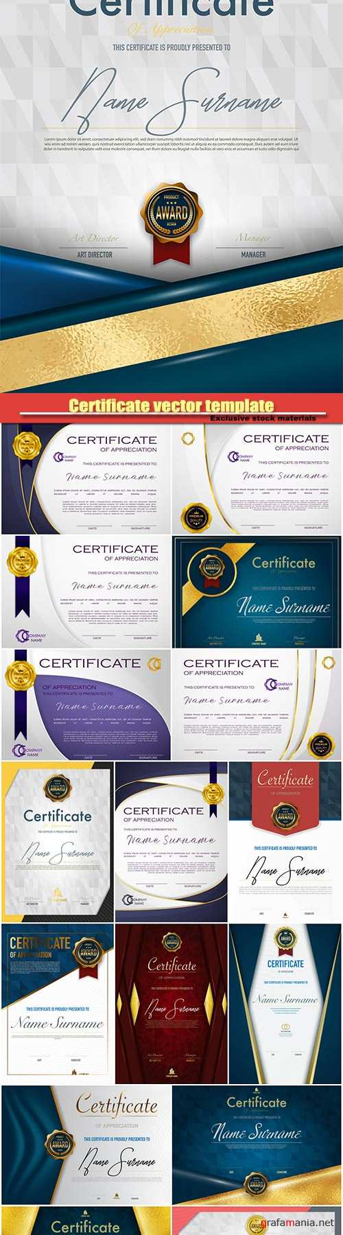 Certificate vector template luxury and diploma