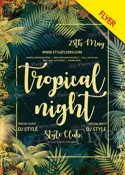 Tropical Night V15 Flyer PSD Template