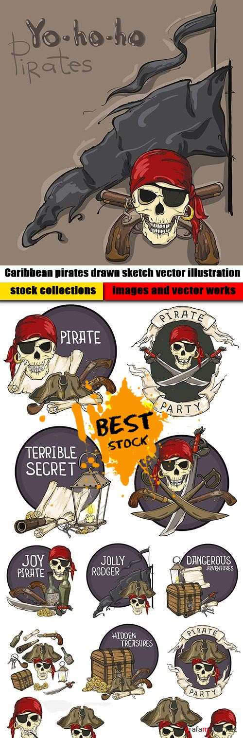 Caribbean pirates drawn sketch vector illustration