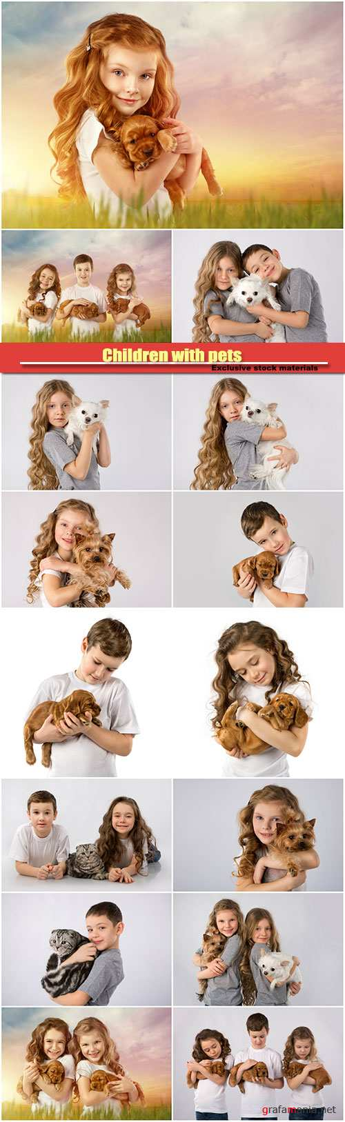 Children with pets, cat and a dog