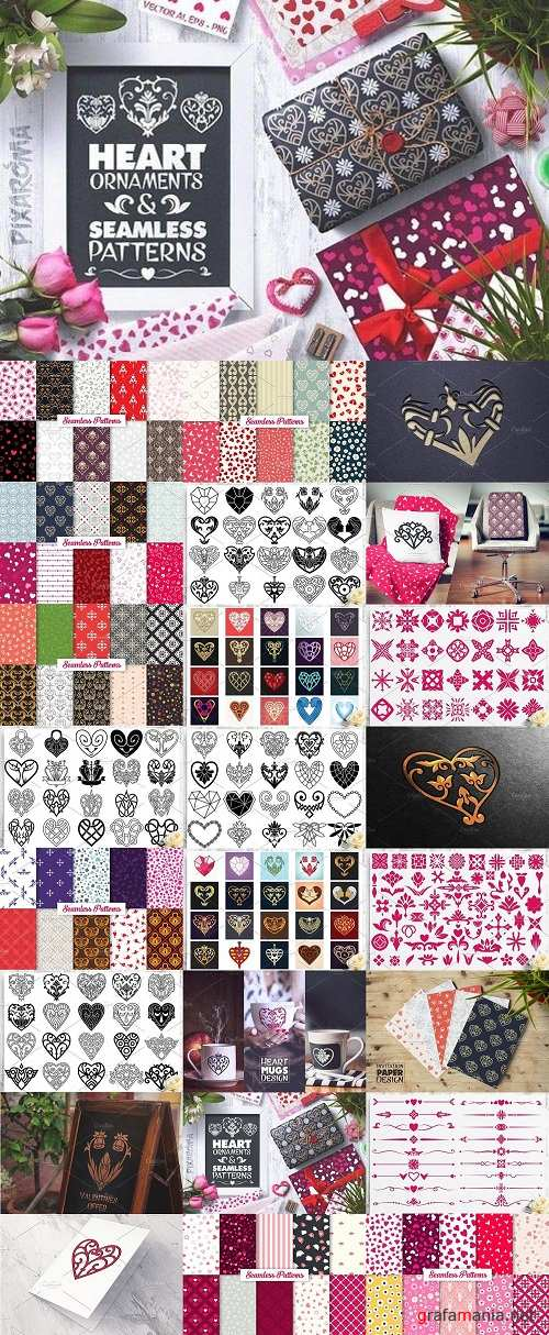Heart Vector Ornaments and Patterns 1278561