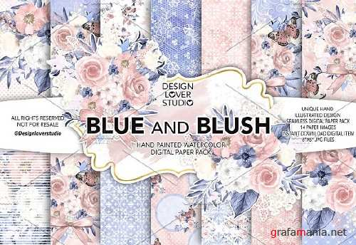 Watercolor BLUE and BLUSH DP pack - 1425002