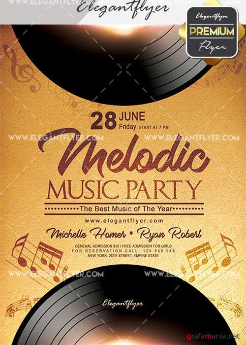Melodic Music V20 Flyer PSD Template + Facebook Cover