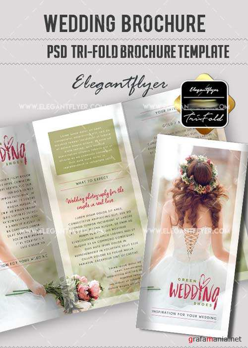 Wedding V12 Tri-Fold PSD Brochure Template