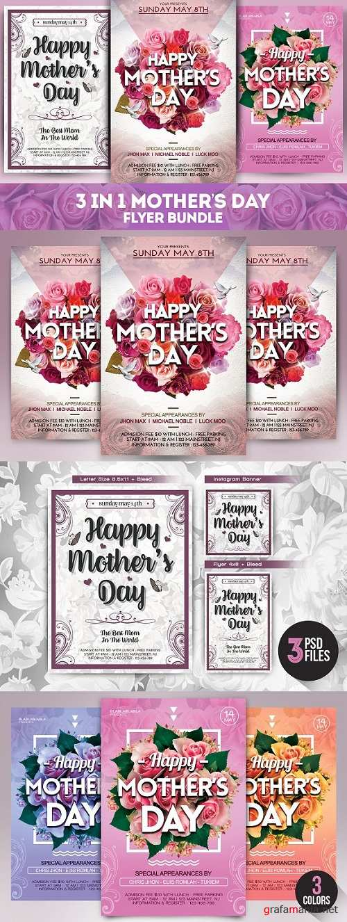 3 in 1 Mothers Day Flyer Bundle 1469358
