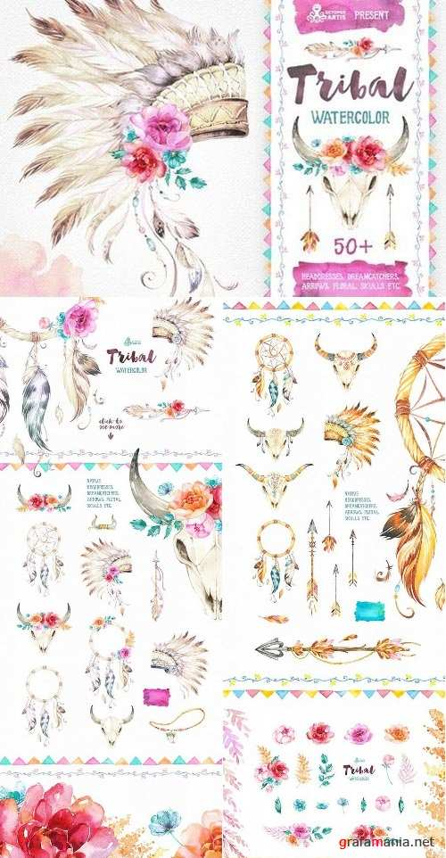 Tribal. Watercolor collection 723880