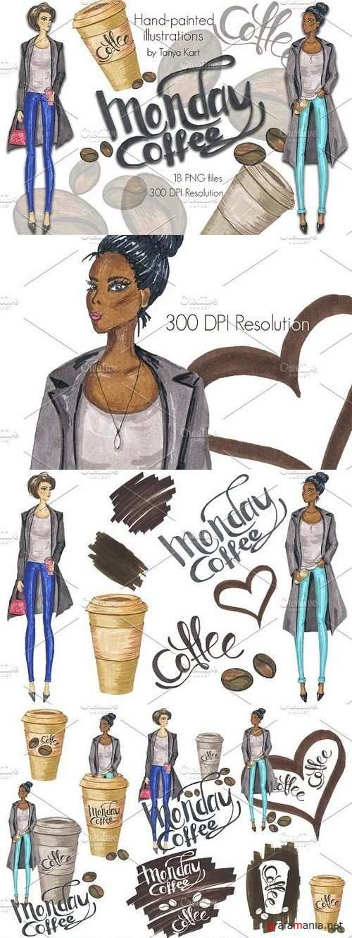 Monday Coffee Hand-painted Clipart 1208767
