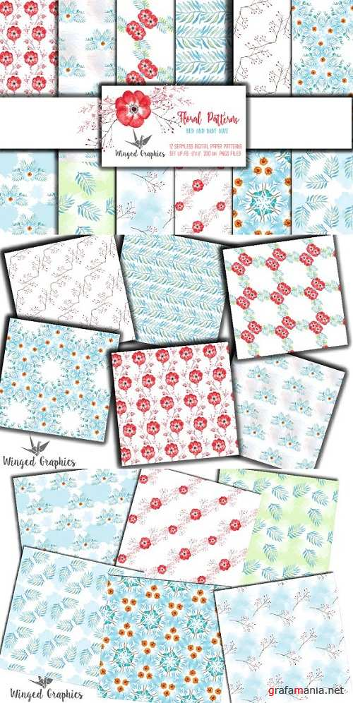 Floral watercolor seamless patterns 1488739