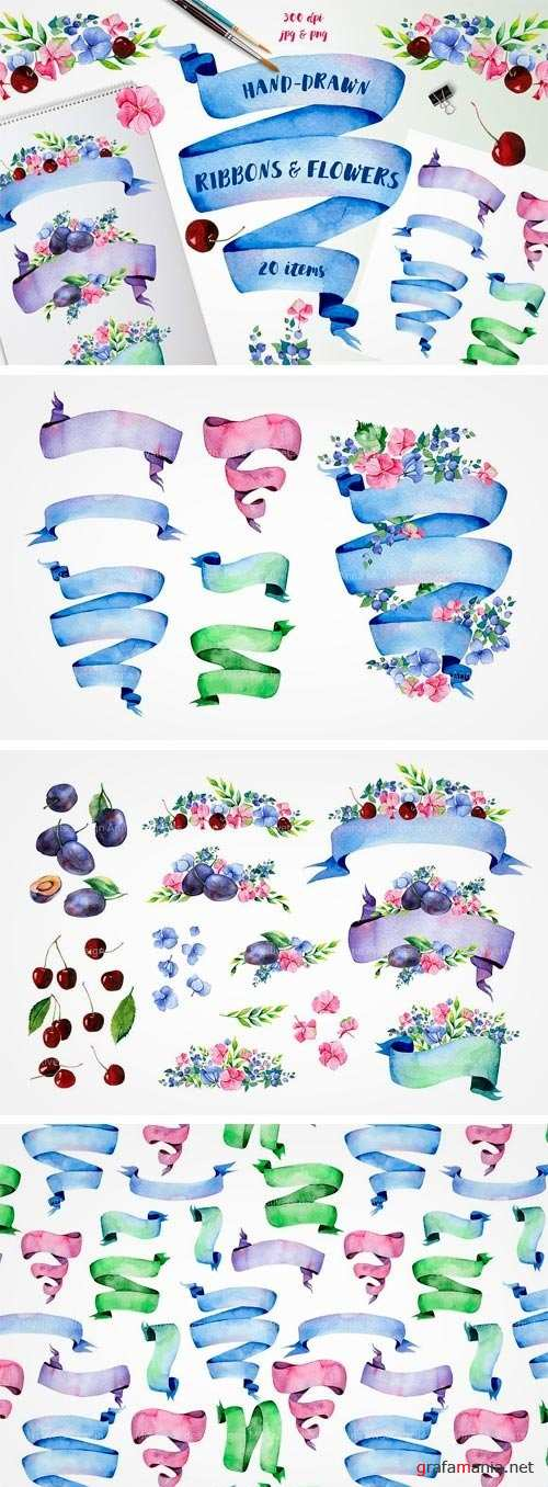 Ribbons and Flowers Set - 1435362