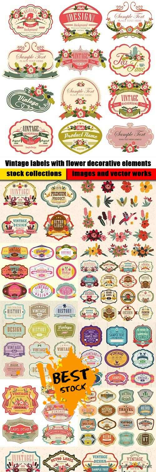 Vintage labels with flower decorative elements