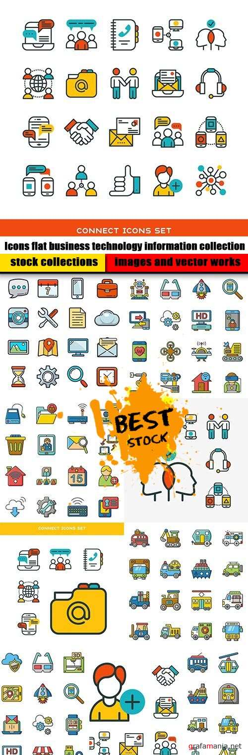 Icons flat business technology information collection