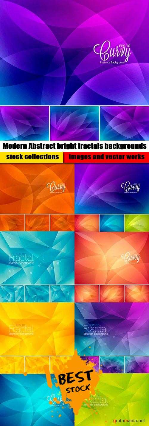 Modern Abstract bright fractals backgrounds