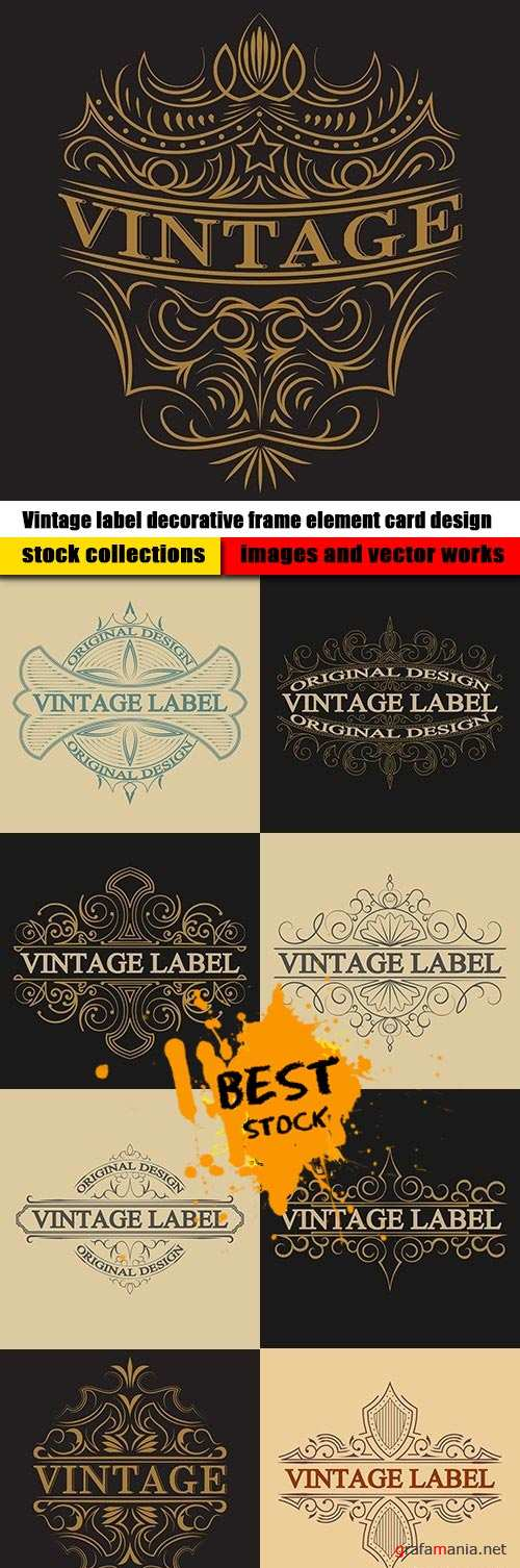 Vintage label decorative frame element card design
