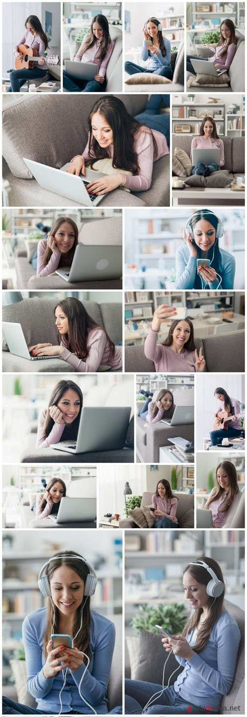 Beautiful young girl works with the smartphone and a laptop 2 - 20xUHQ JPEG Photo Stock