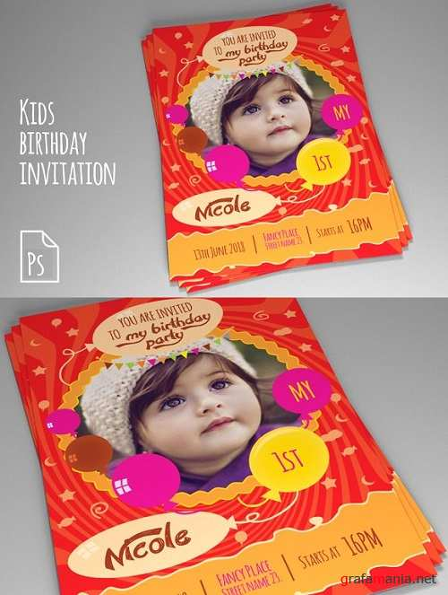 Kids Birthday Invitation PSD vol. 2 - 1046899