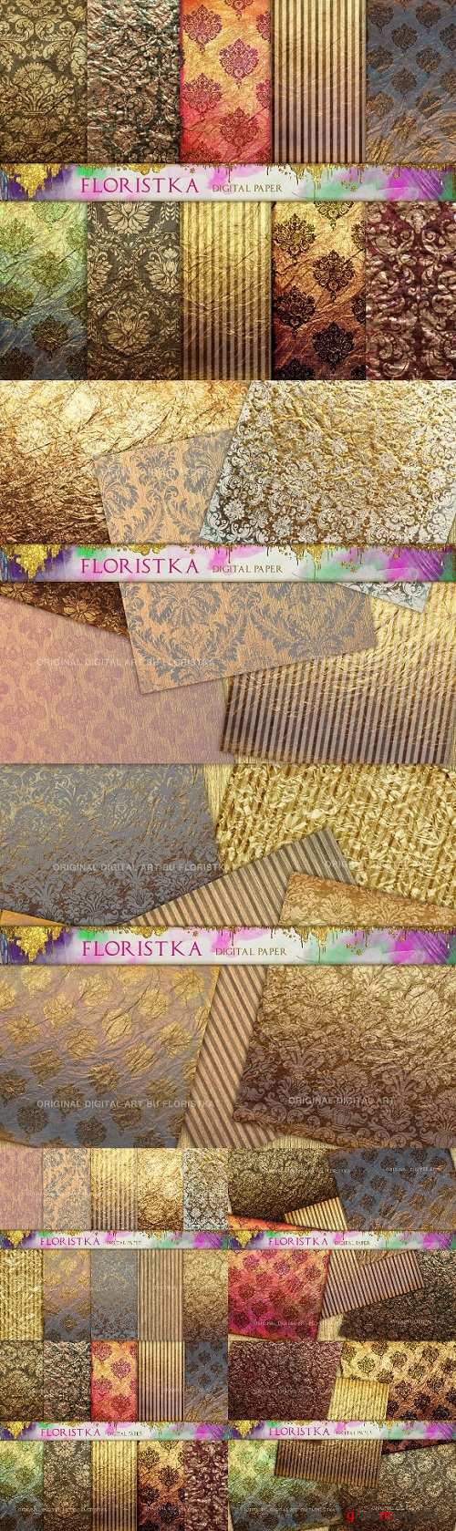 Ombre Damask Gold Patterns 1372660