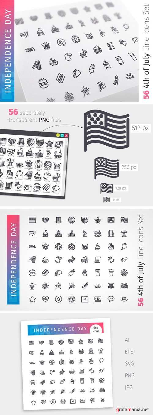 USA Independence Day Line Icons Set - 1407049
