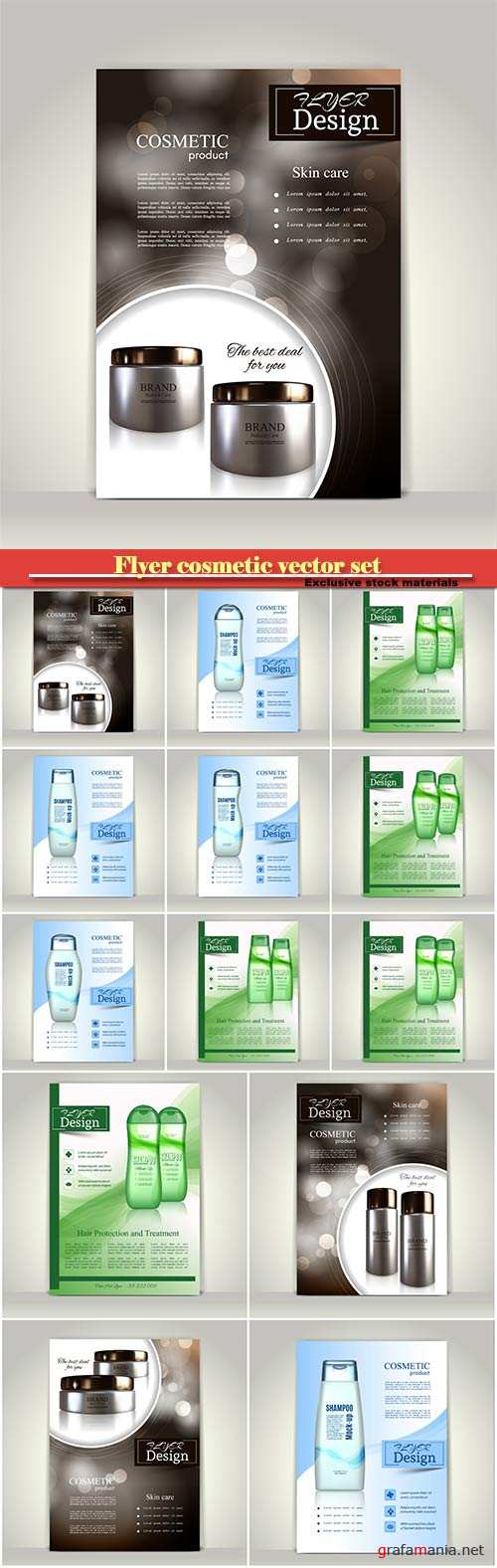 Flyer cosmetic vector set, brochure or magazine cover template