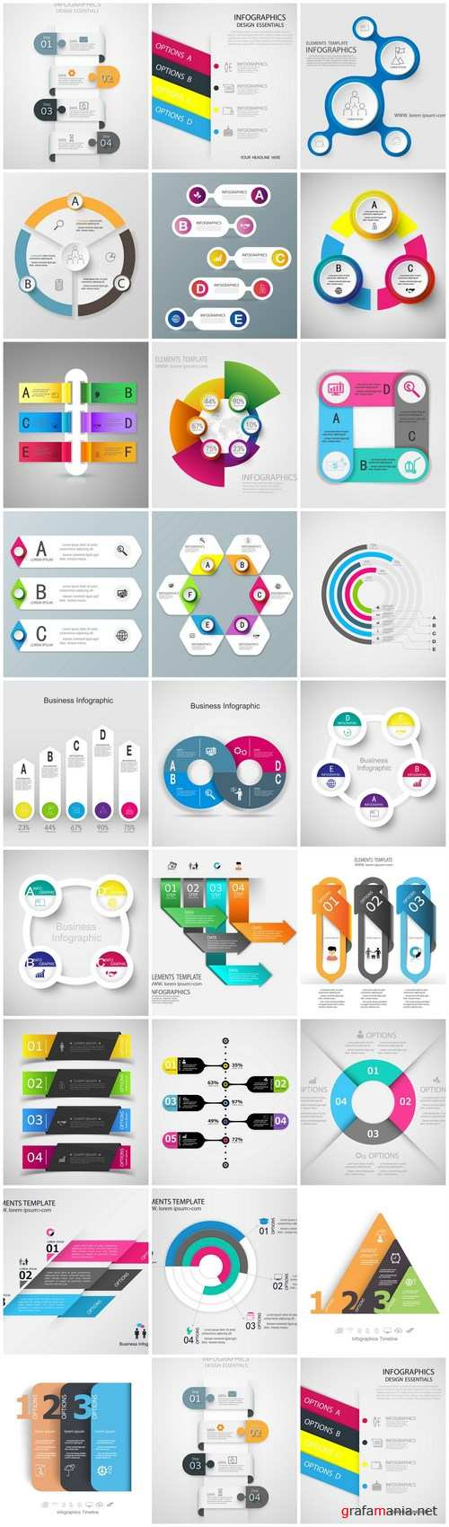 Infographics Design Elements #286 – 25 Vector