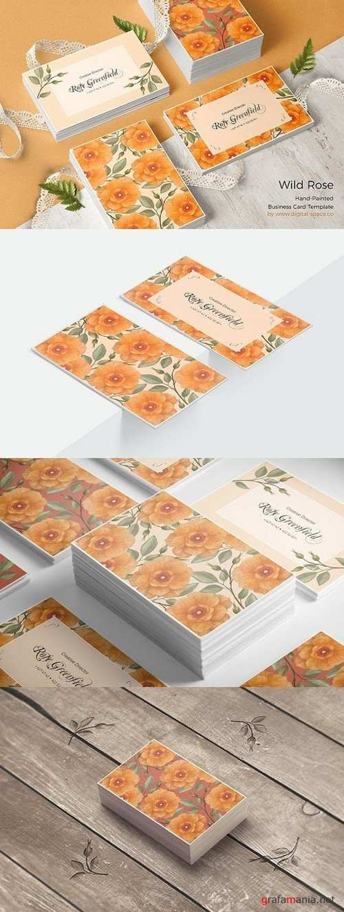 Peach Wild Rose PSD Business Card 1437593