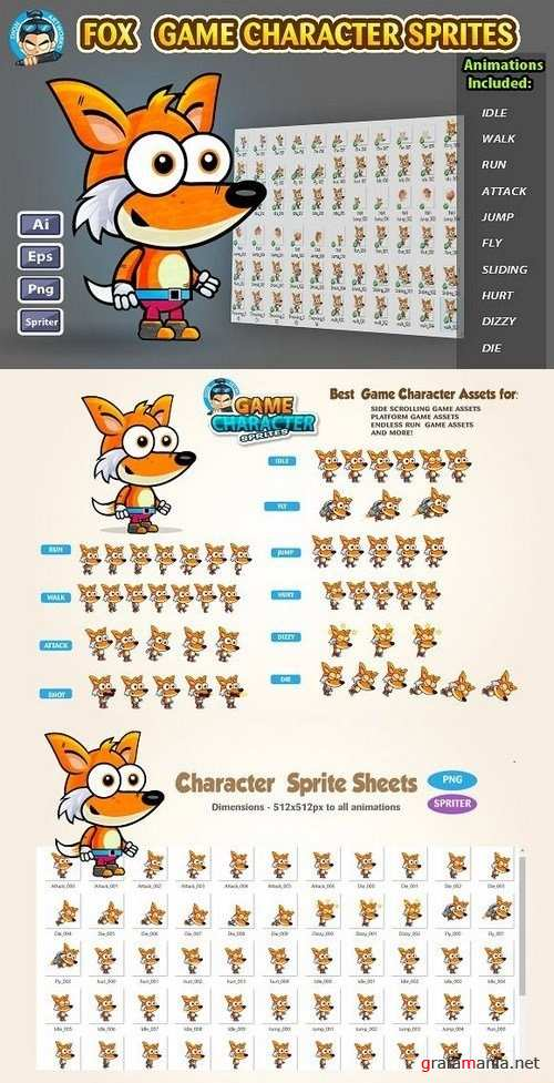 Fox 2D Game Character Sprites 1232100