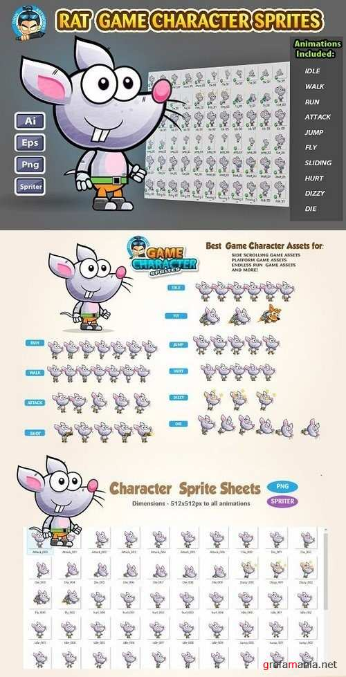 Rat 2D Game character Sprites 1232117