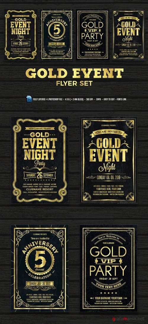 Gold Event Flyers Set 1449664