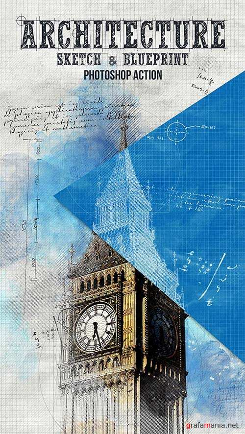 GraphicRiver Architecture Sketch and Blueprint Photoshop Action