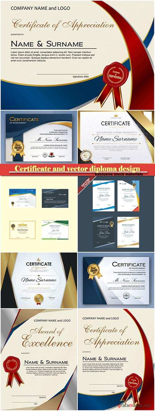 Certificate and vector diploma design template #12