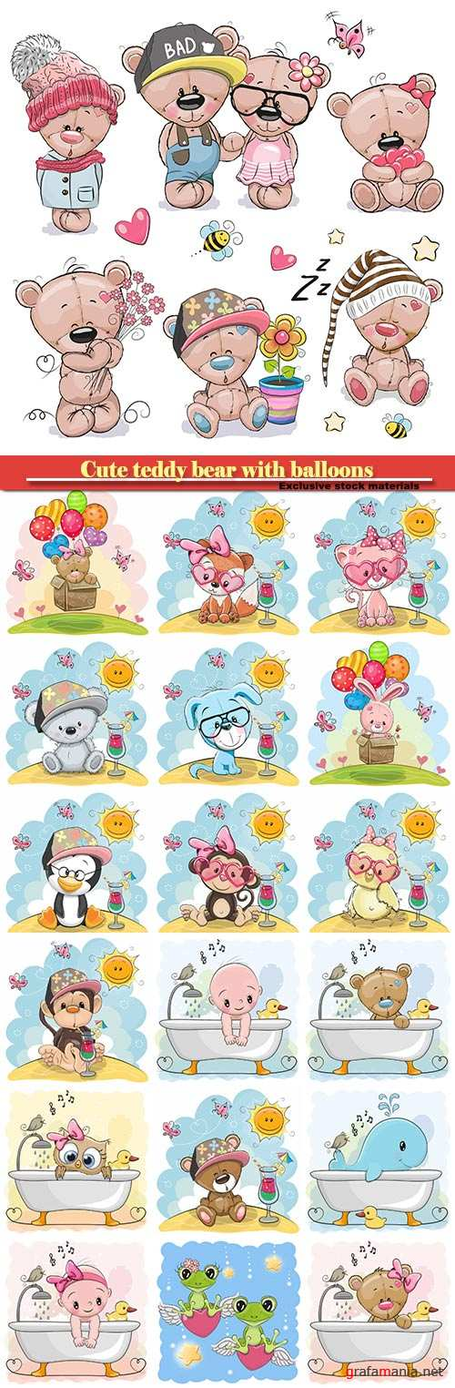 Cute teddy bear with balloons, animals and baby