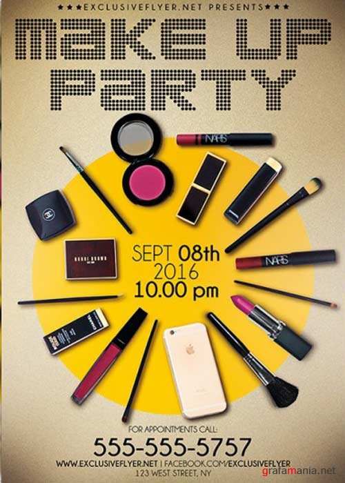 Make Up Party V14 Premium Flyer Template + Facebook Cover