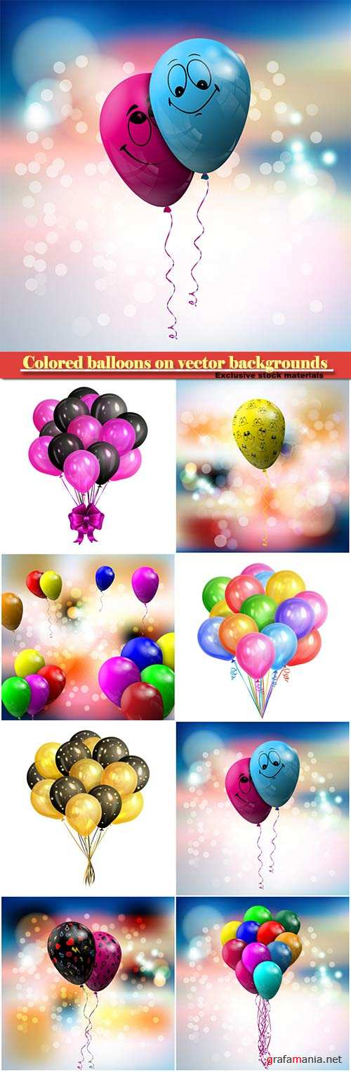 Colored balloons on vector backgrounds