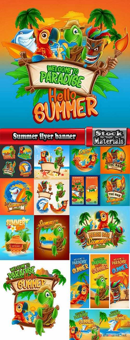 Summer flyer banner with cartoon character sea sun travel day vacation 16 EPS