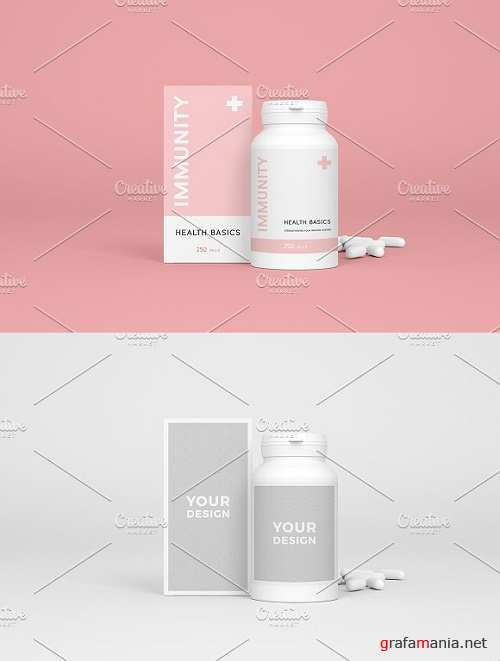 Medical mockup of bottle and box 1541734
