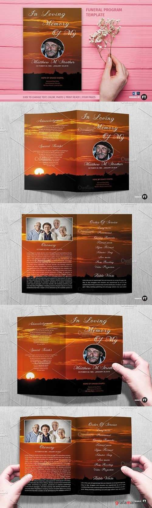 Funeral Program Template / Sunset 1461932