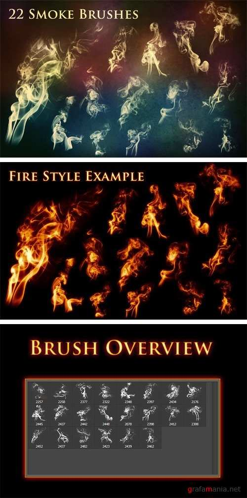 22 Smoke and Fire Brushes - 1479349