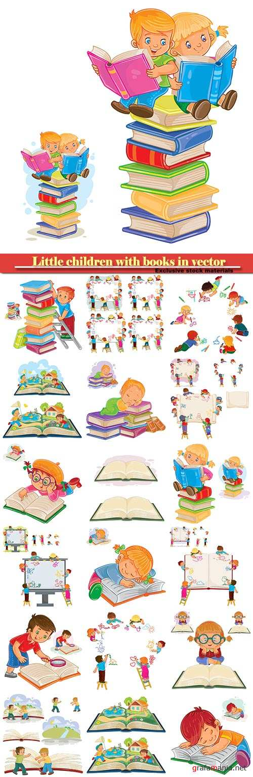 Little children with books in vector