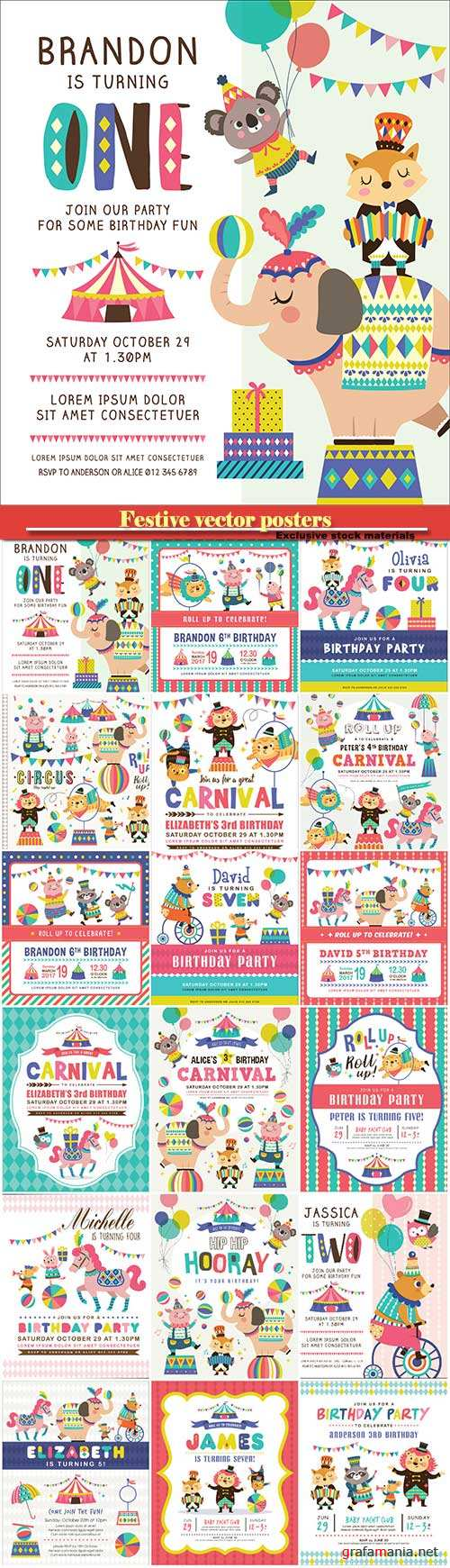 Festive vector posters with children's illustrations