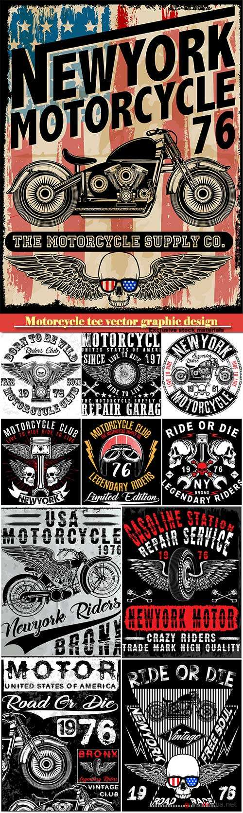 Motorcycle tee vector graphic design, motorcycle label t-shirt design with illustration