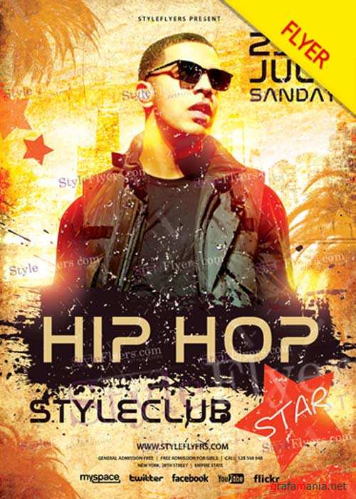 Hip Hop Star V28 Flyer PSD Template